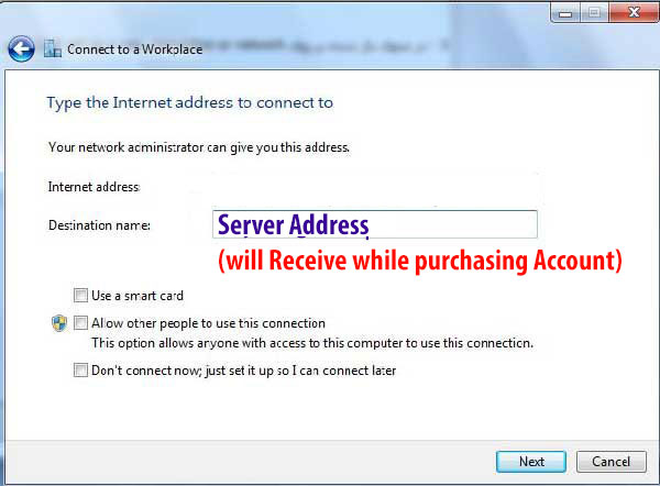 Manual Connection 1 - How to create manual vpn connection in windows 7